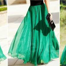 emerald green long chiffon skirt maxi skirt ladies silk chiffon