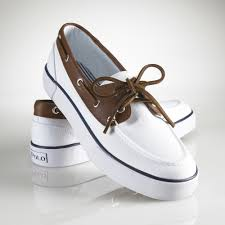 womens polo boots sale polo ralph rylander canvas boat shoe in white for lyst