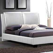 sabrina white modern bed with overstuffed headboard king size