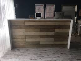 Reception Desk Wood by The Anthem 8 U0027 Industrial Rustic Pallet Wall Look Two Level