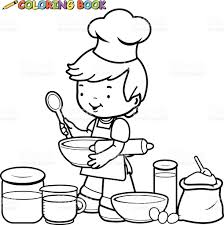 little boy preparing to cook coloring book page stock vector art