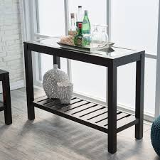 Black Console Table Sutton Glass Top Console Table With Slat Bottom Hayneedle