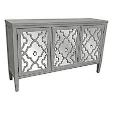 amazon com marissa antique white pattern mirror 3 door sideboard
