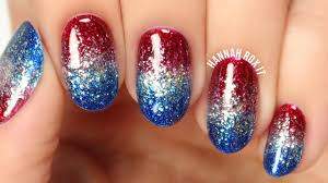 4th of july glitter gradient nails no sponging youtube