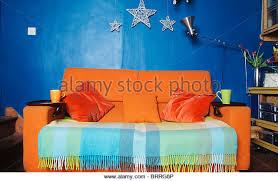 Orange Sofa Throw Blue Sofas In Country Living Stock Photos U0026 Blue Sofas In Country