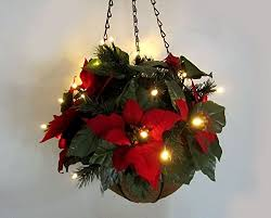 christmas hanging baskets with lights christmas poinsettia effect hanging basket led light up battery