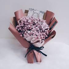 baby breath korean style inspired pink baby breath bouquet design craft