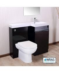 aston right hand black gloss bathroom white basin vanity unit wc