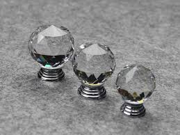 Clear Cabinet Knobs Modern Fashion K9 Clear Crystal Glass Chrome Cabinet Knobs New