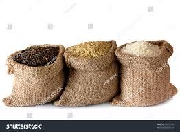 small burlap bags three kinds rice small burlap bags stock photo 78533740