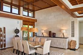 artwork above buffet dining room contemporary with river rock rug