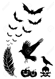 raven feather with flying bats halloween design elements vector