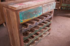 reclaimed teak boat wood wine rack cabinet imported from bali
