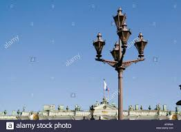 Czarist Russia Flag Ornate Lanterns Opposite The Hermitage Palace And Square The