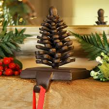 cast iron pine cone christmas stocking holder christmas stocking