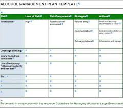 alcohol management plan template alcohol org nz