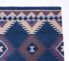 Rug 5x8 Modern Southwestern Contemporary Handmade Wool Rug 5x8 Blue Ivory