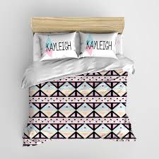 Personalized Comforter Set Black Pink U0026 Yellow Tribal Aztec Minimalist Kids Bedding