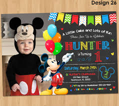 Birthday Invitation Cards For Kids First Birthday Mickey Mouse Invitation Birthday Mickey Mouse 1st Birthday