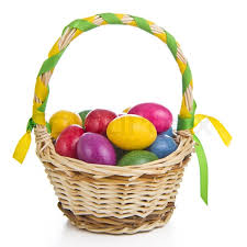 easter basket colorful easter eggs in basket isolated stock photo colourbox