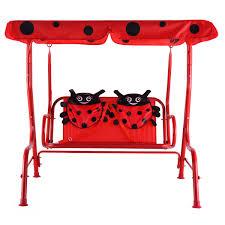 costzon kids patio swing bench children porch swing chair 2 seater