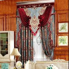 Rustic Country Curtains Noble Red Blue Embroidery Floral Thick Country Curtains