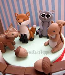 squirrel cake topper ready made woodland animal cake toppers fox raccoon deer