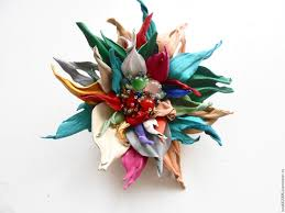 hair brooch design leather ornaments the colors of the skin leather flower elsa