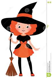 little red haired with a broom in halloween witch costume
