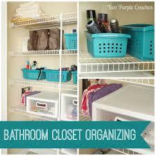 Bathroom Closet Storage Ideas Bathroom Closet Storage Put A Bin In It Two Purple Couches With