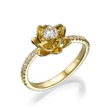 flower engagement rings flower diamond engagement ring in 14k yellow gold ring