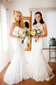 two wedding dress host wedding at outdoor venue in malibu california