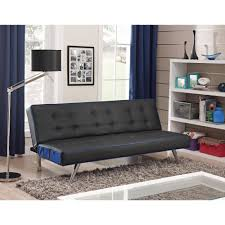 Faux Leather Sofa Sleeper Contrast Piping Tufted Faux Leather Futon Sofa Bed