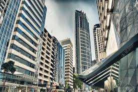 modern city skyscrapers from street level stock photo picture and