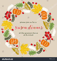 thanksgiving invitation card wreath on stock vector