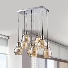 8 Light Pendant Chandelier Mariana Chrome Metal And Glass 8 Light Cluster Pendant Chandelier