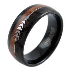 wood inlay wedding band black tungsten dome ring w koa wood inlay feather arrow