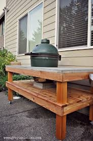 Green Egg Table by Ana White Diy Big Green Egg Grill Table With Concrete Top Diy