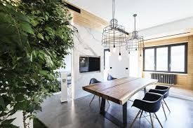modern design and trees define roman apartment used for studio