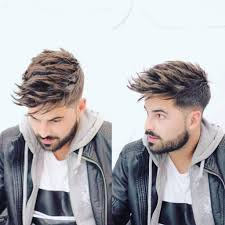 men u0027s undercut with long textured spiky fringe on brown hair with