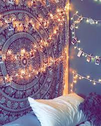 bedroom lighting tapestry and polaroids with twinkle lights how