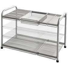 easy home expandable under sink shelf org 2 tier mesh expandable under sink shelf bed bath beyond