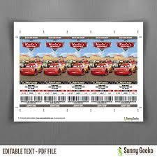 cars birthday ticket invitations instant download and edit with