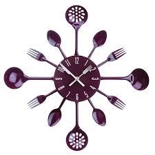 premier housewares cutlery wall clock purple amazon co uk