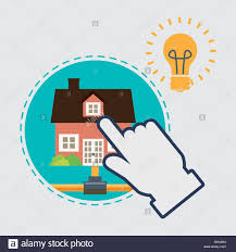 home automation design smart house icon house concept stock