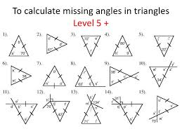 finding missing angles in triangles worksheet triangles identifying and finding missing angles