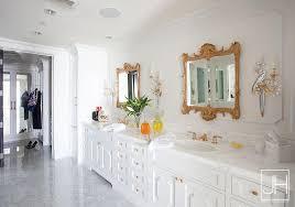 Gold Bathroom Mirror by Gold Bathroom Vanity With Gray Ikat Rug Contemporary Bathroom