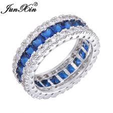 finger wedding rings images Junxin blue zircon women men finger ring white gold filled wedding jpg