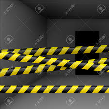 Yellow Black Room Dark Room With Yellow And Black Danger Tape Crime Or Emergency