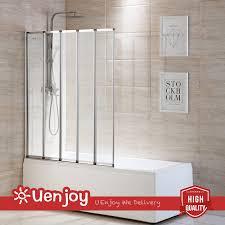 5 fold 1200x1400mm matt silver folding bath shower screen door